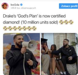 """Drake z diamentem za """"God's Plan""""!"""